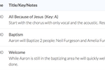 WorshipTrac screenshot: Detailed outlines can be created, with attached notes, files and links