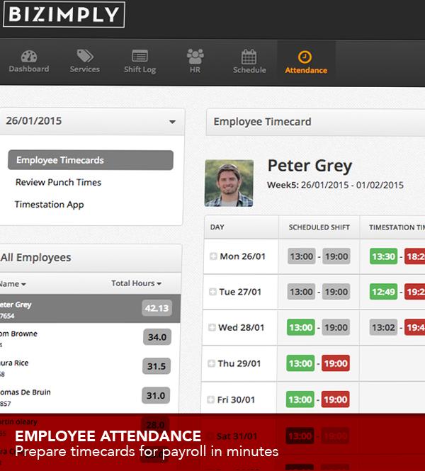 Bizimply Software - Employee timecard