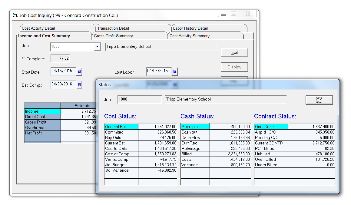 Infor Construction Software - Job Cost Inquiry