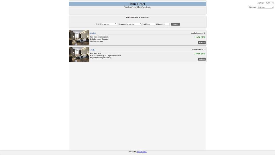 Star Hotelier room availability