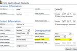 Church Office Online screenshot: Users can view and edit members' personal and contact details in Church Office Online