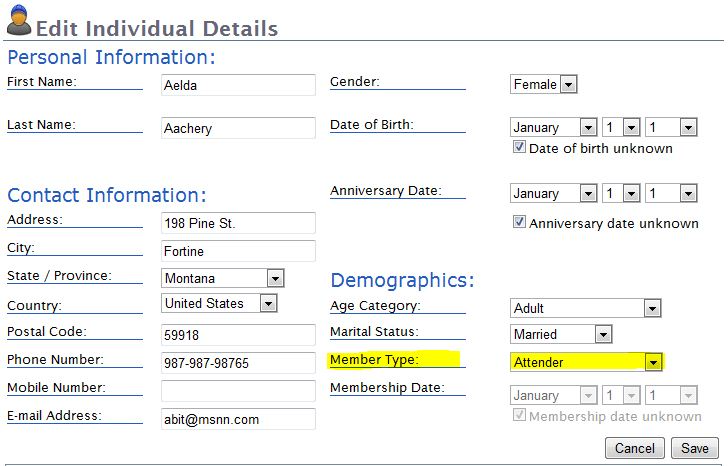 Users can view and edit members' personal and contact details in Church Office Online