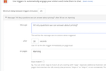 Chatlio Screenshot: Trigger rules can be setup to automatically send out messages to visitors on certain pages, at certain times to stimulate engagement