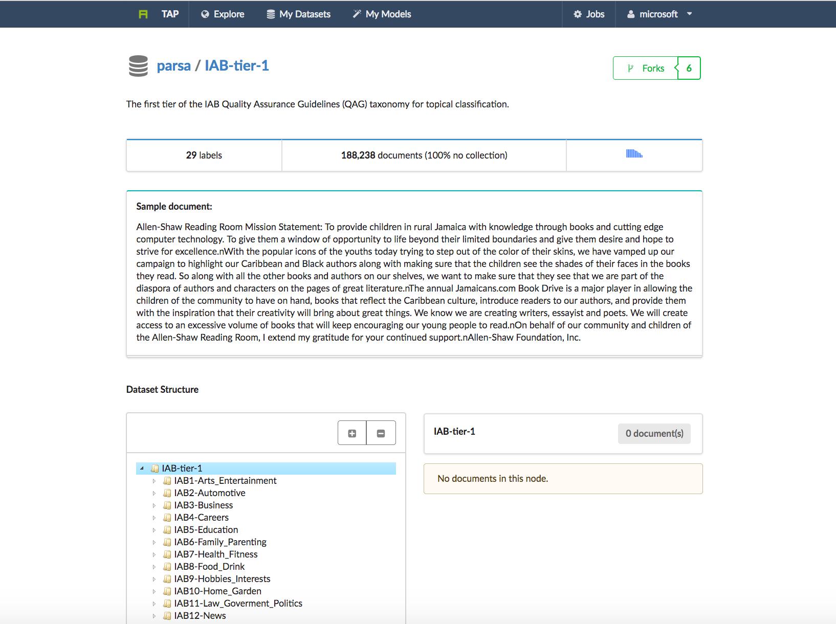 AYLIEN Software - AYLIEN dataset building screenshot