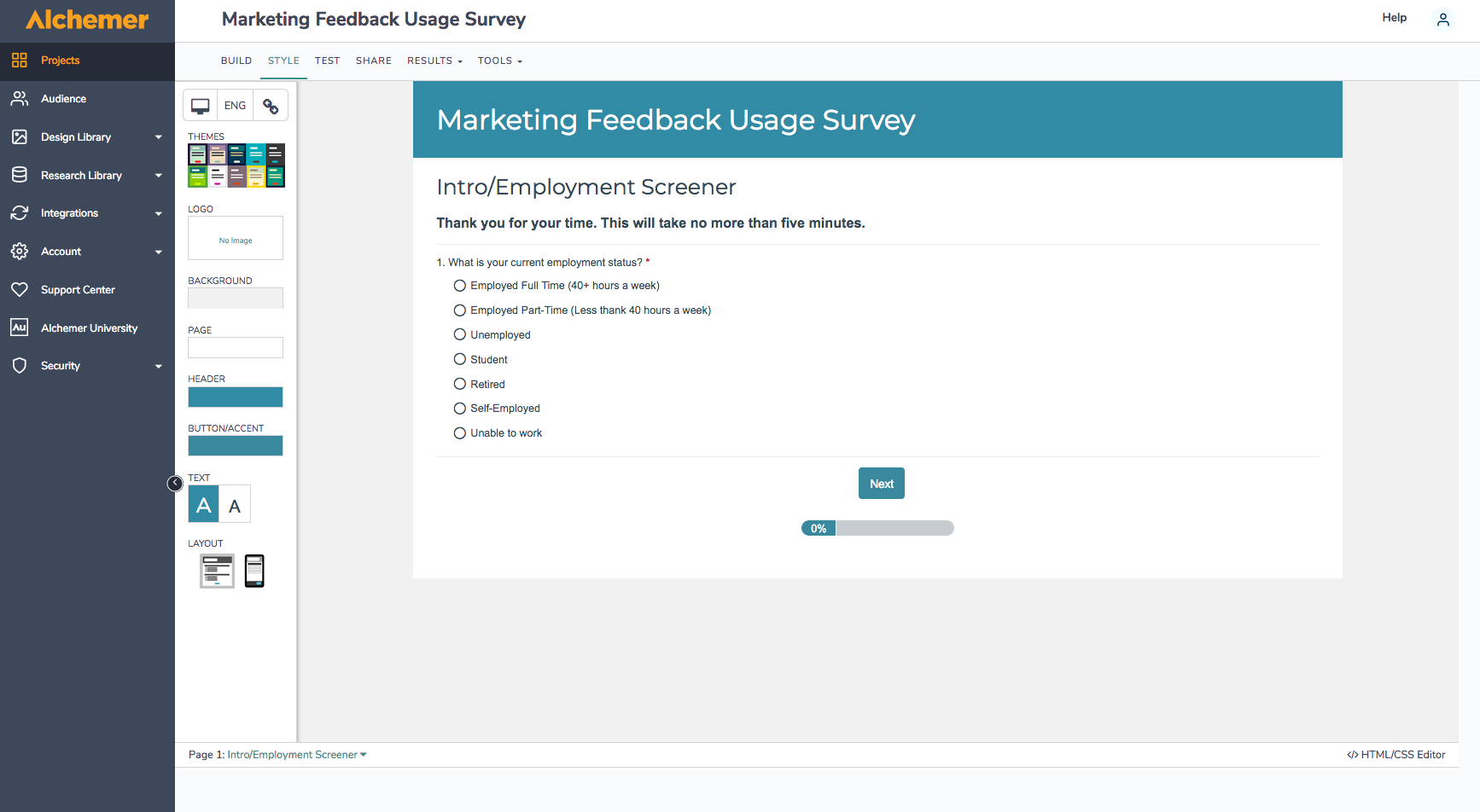 Alchemer Software - Marketing Survey