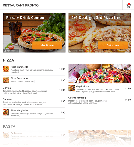GloriaFood menu screenshot