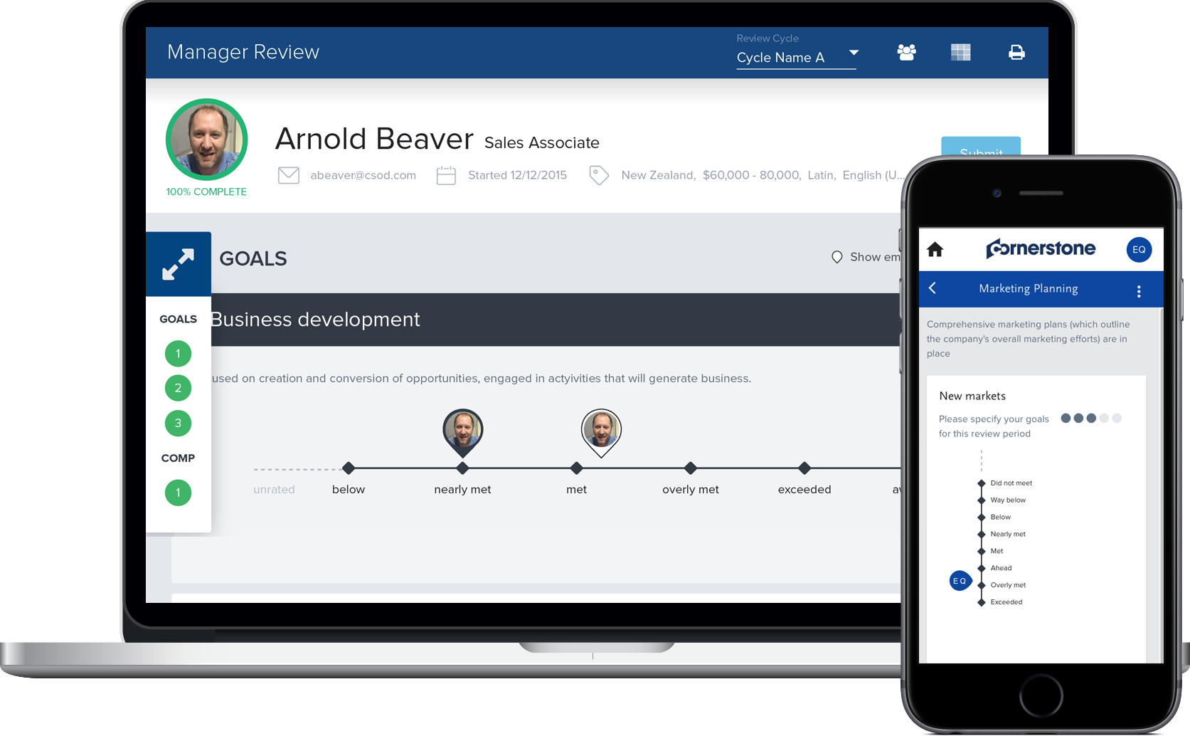Intuitive, visual performance management. Goal setting with role-based goals and competencies. Includes self- and manager reviews, overall scores and manager comments.