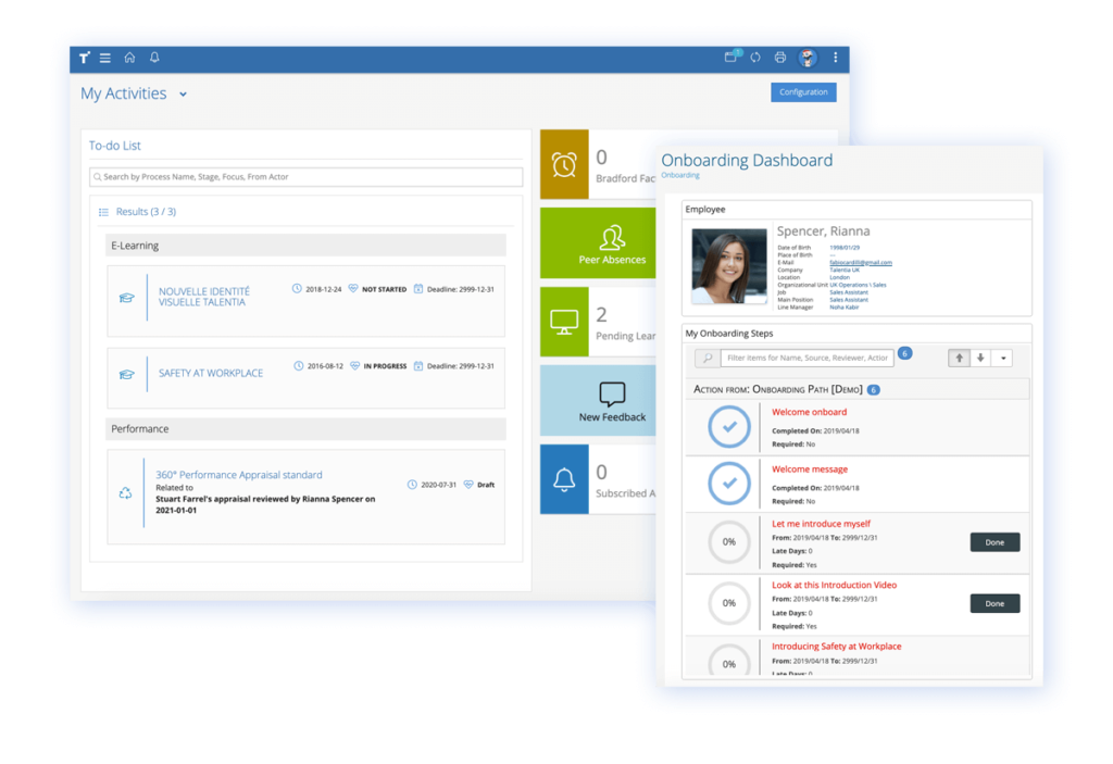 Talentia HCM Software - Onboarding Software. Increase the new hire experience and support smoother transitions. Give access to key information within the employee portal, connect new hires to their teams and assign dedicated onboarding paths to help employees settle in.