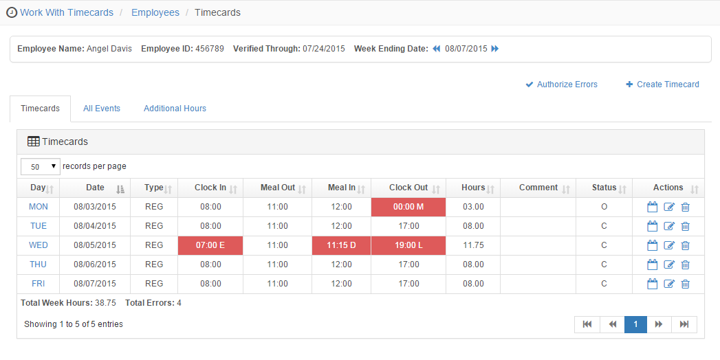 Optimum HR time & attendance web interface showing Timecards
