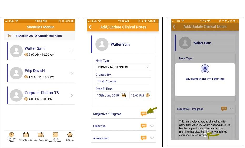 Skedulex Case Management Software voice to text note recording
