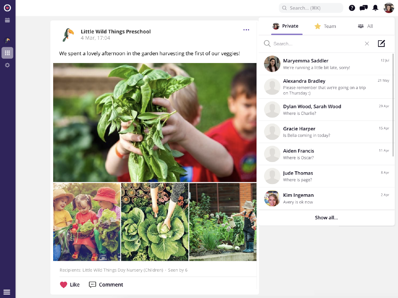 Famly screenshot: Customisable newsfeed and parent communication