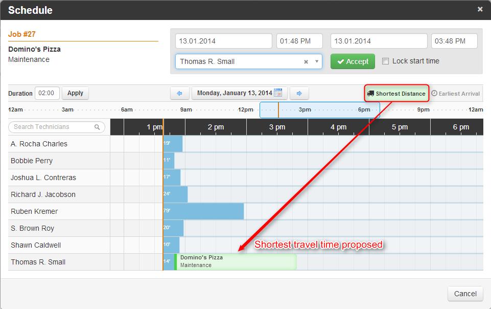 Synchroteam job schedules