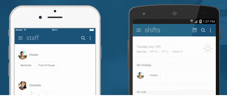 Manage staff and shifts via mobile
