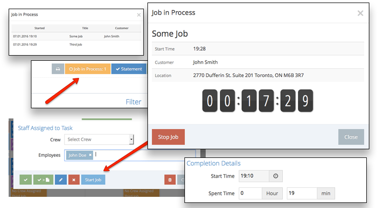 The time tracking tool allows filed service staff to log their hours worked