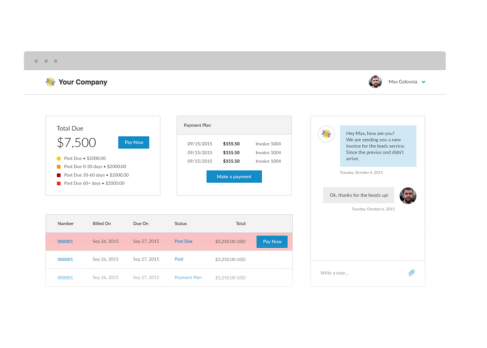 Customers can pay invoices and balances, as well as update billing information and view documents from the customer portal