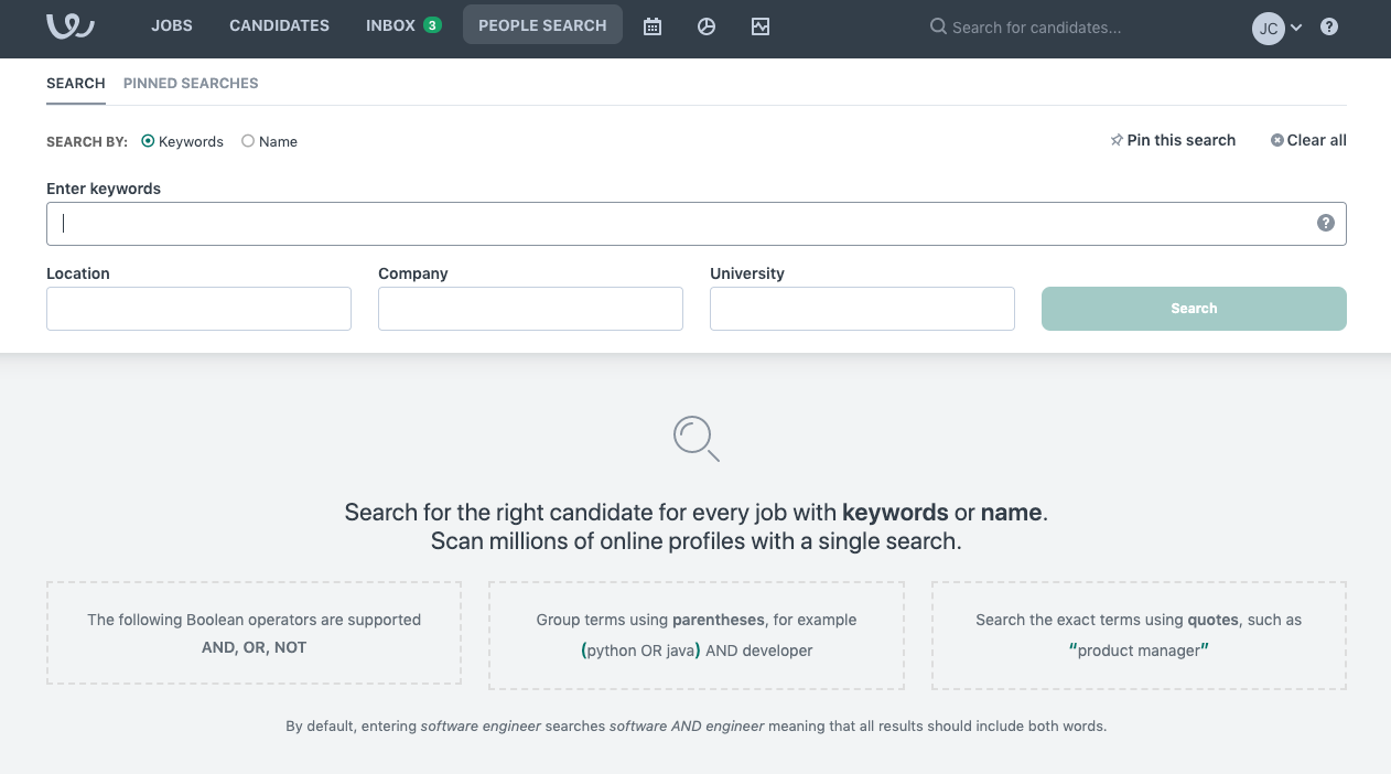 People Search, Workable's built-in sourcing technology