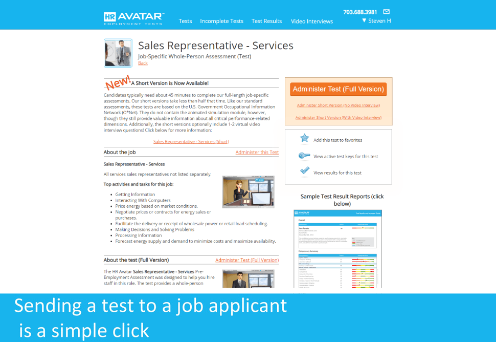 View detailed test information including a sample test report, and send the test to a job applicant with a simple click.