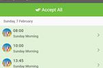 Elvanto screenshot: Elvanto Android app showing Roster screen