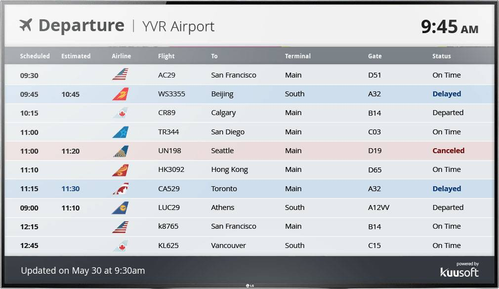 NexSigns airport live status display screenshot