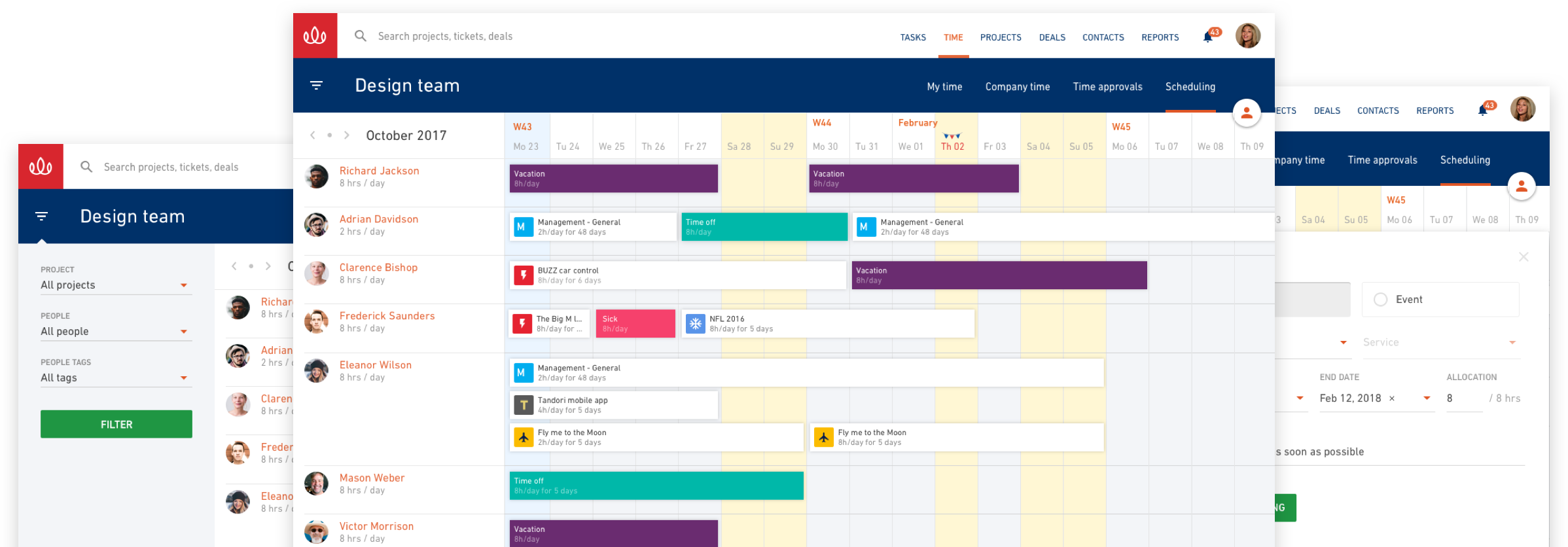 Resource planning capabilities feature calendar-based scheduling for planning team work across the whole company