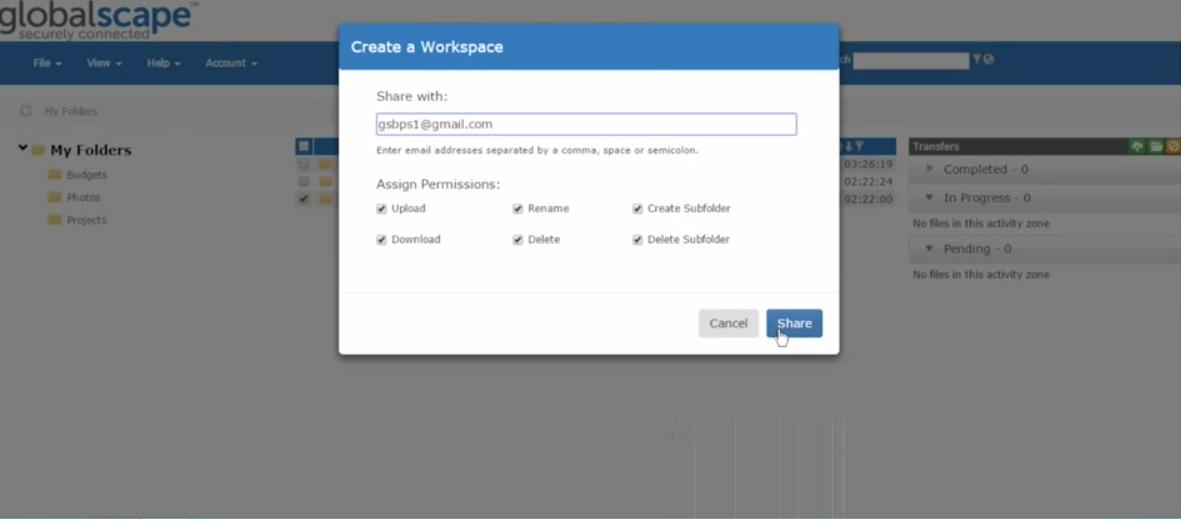 Globalscape EFT screenshot: Enhanced File Transfer creating workspace