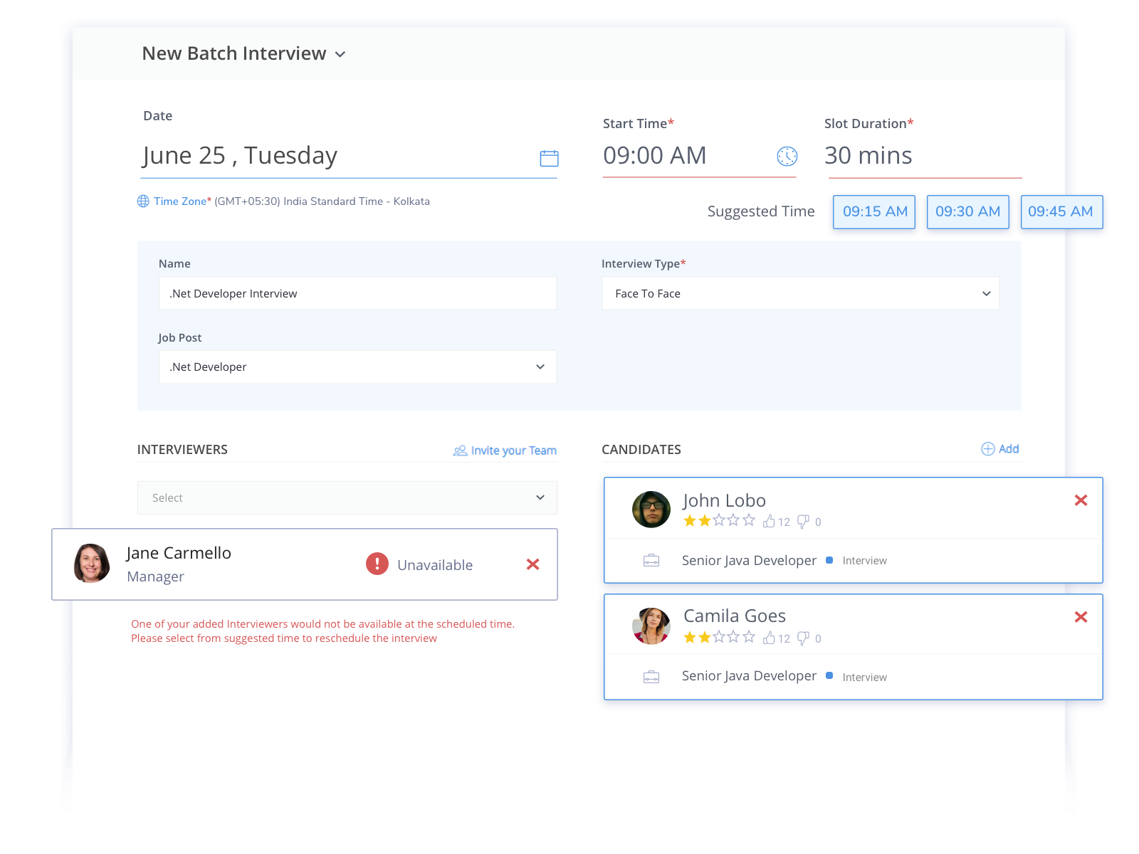 Schedule interviews seamlessly with Smart Interview Scheduler. You can connect your account with Google/Microsoft calendar and get notified about the best interview times at the time of interview creation.