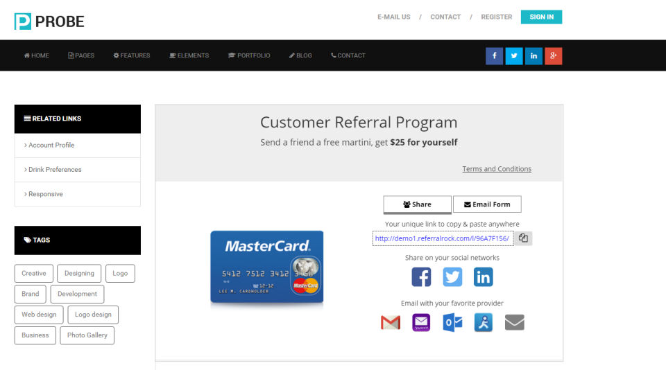 Referral Rock customer referral program screenshot