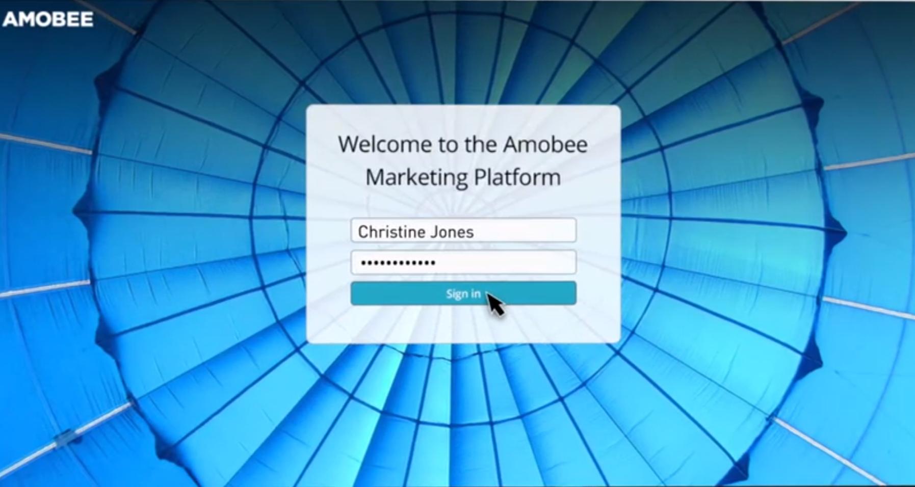 Amobee screenshot: Amobee login page