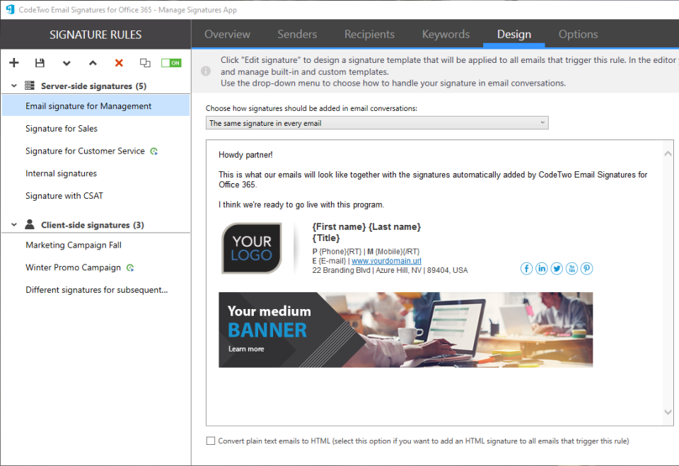 Email Signatures for Office 365 Logiciel - 5