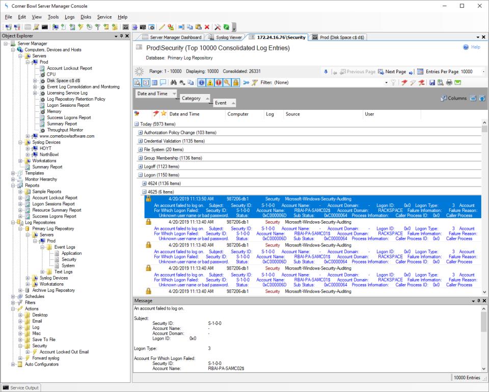 Corner Bowl Server Manager consolidated log entry
