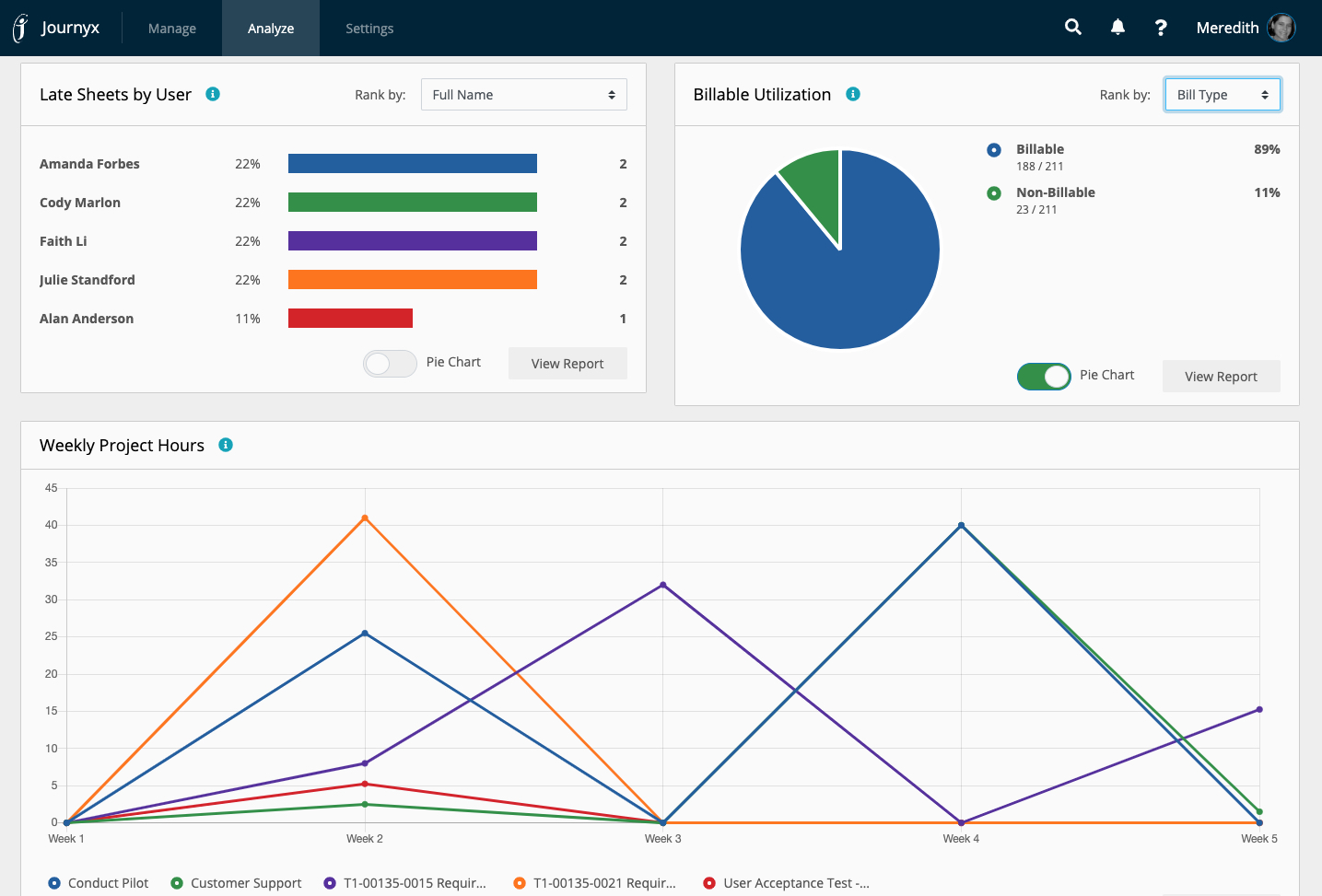 Journyx Software - Manager Dashboard Summary