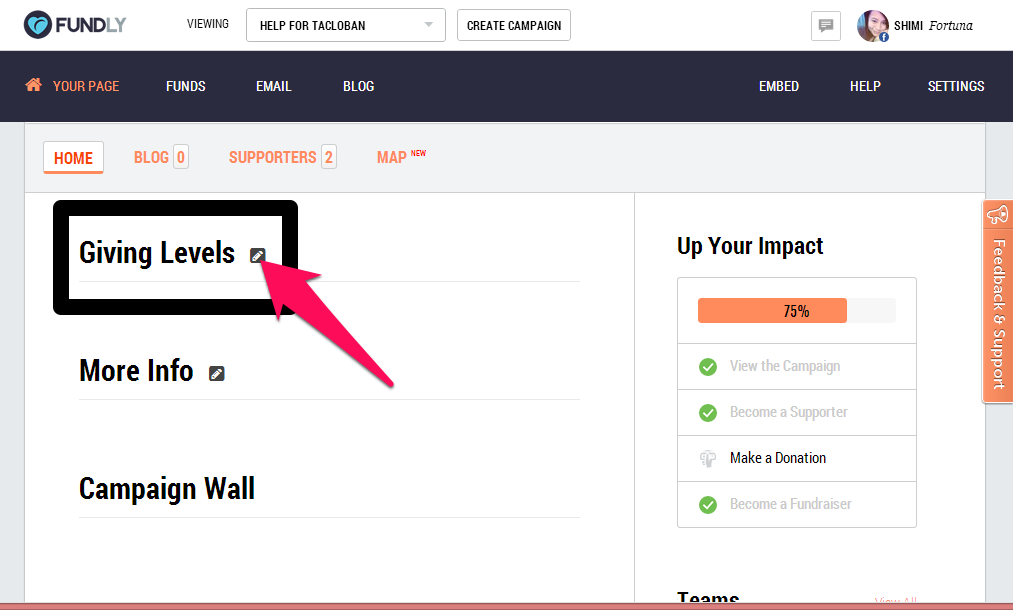 Set giving levels