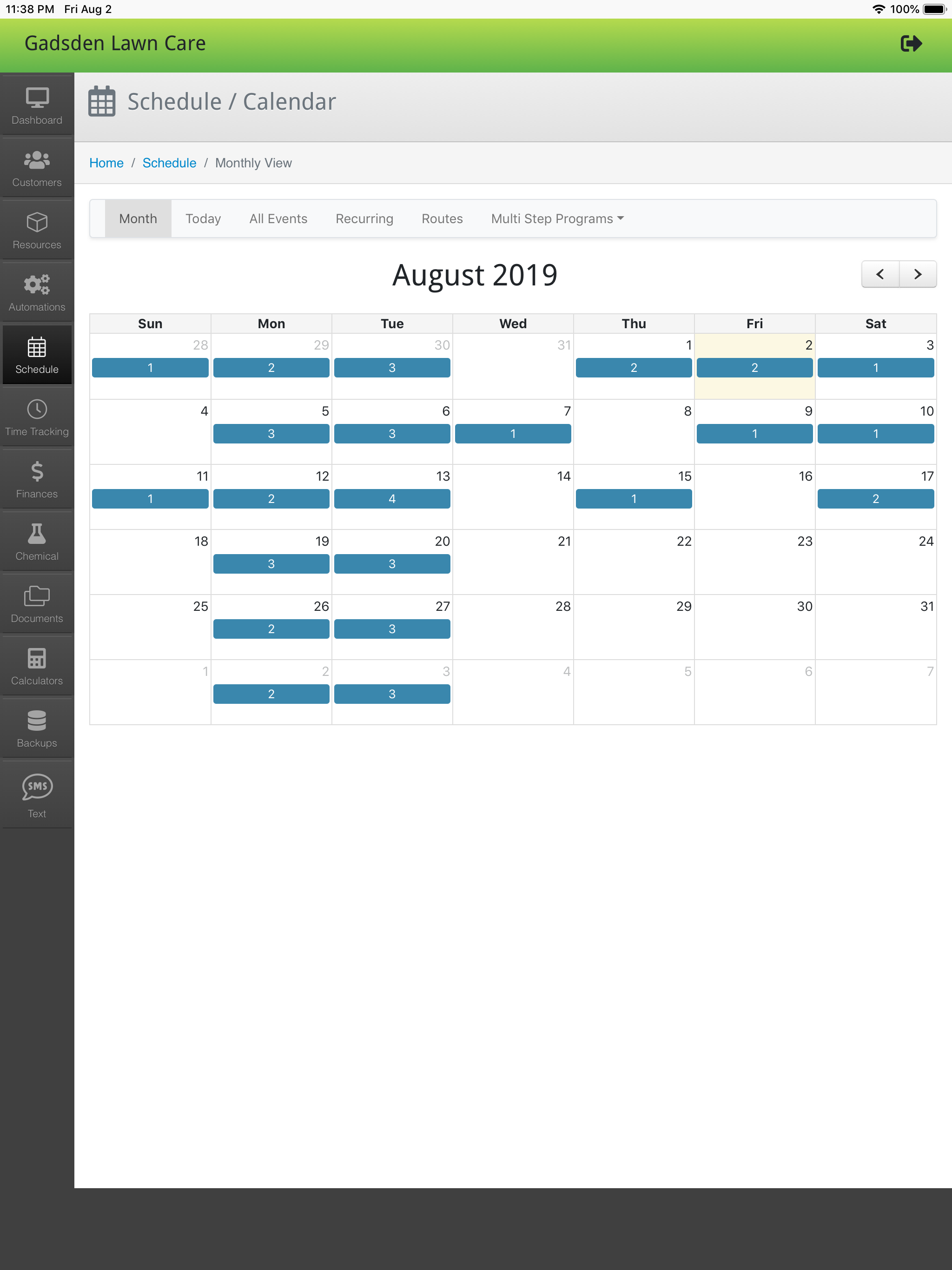 LawnPro schedule management