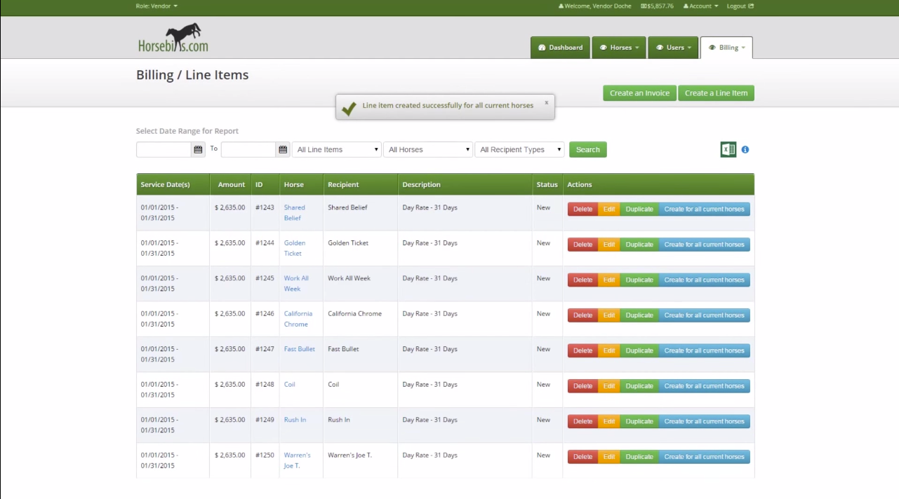 Horsebills users can create invoices efficiently with the ability to create a line item with all the horses in a stable.