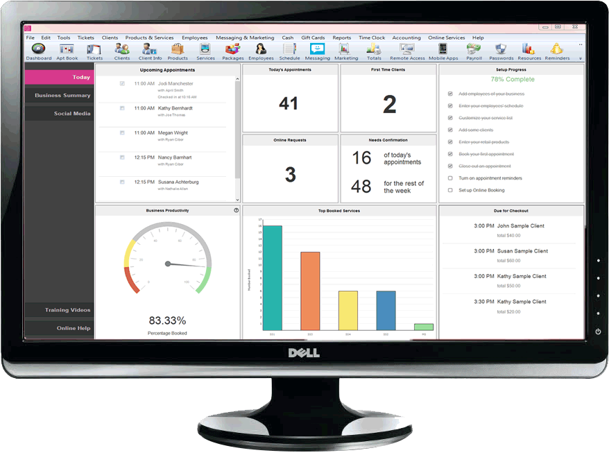 The dashboard, complete with a productivity meter, top booked services, and more
