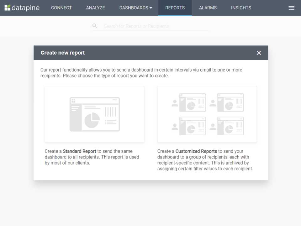 datapine's Report section where you can set up customized, automated reports with a few clicks.