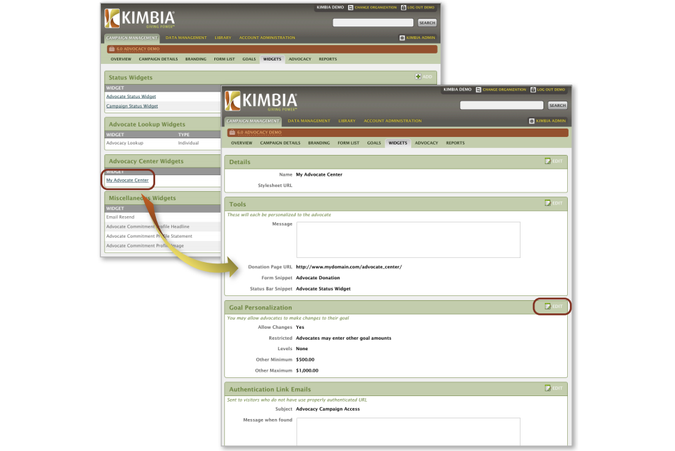 Accelerate Kimbia Software - Create advocacy campaigns