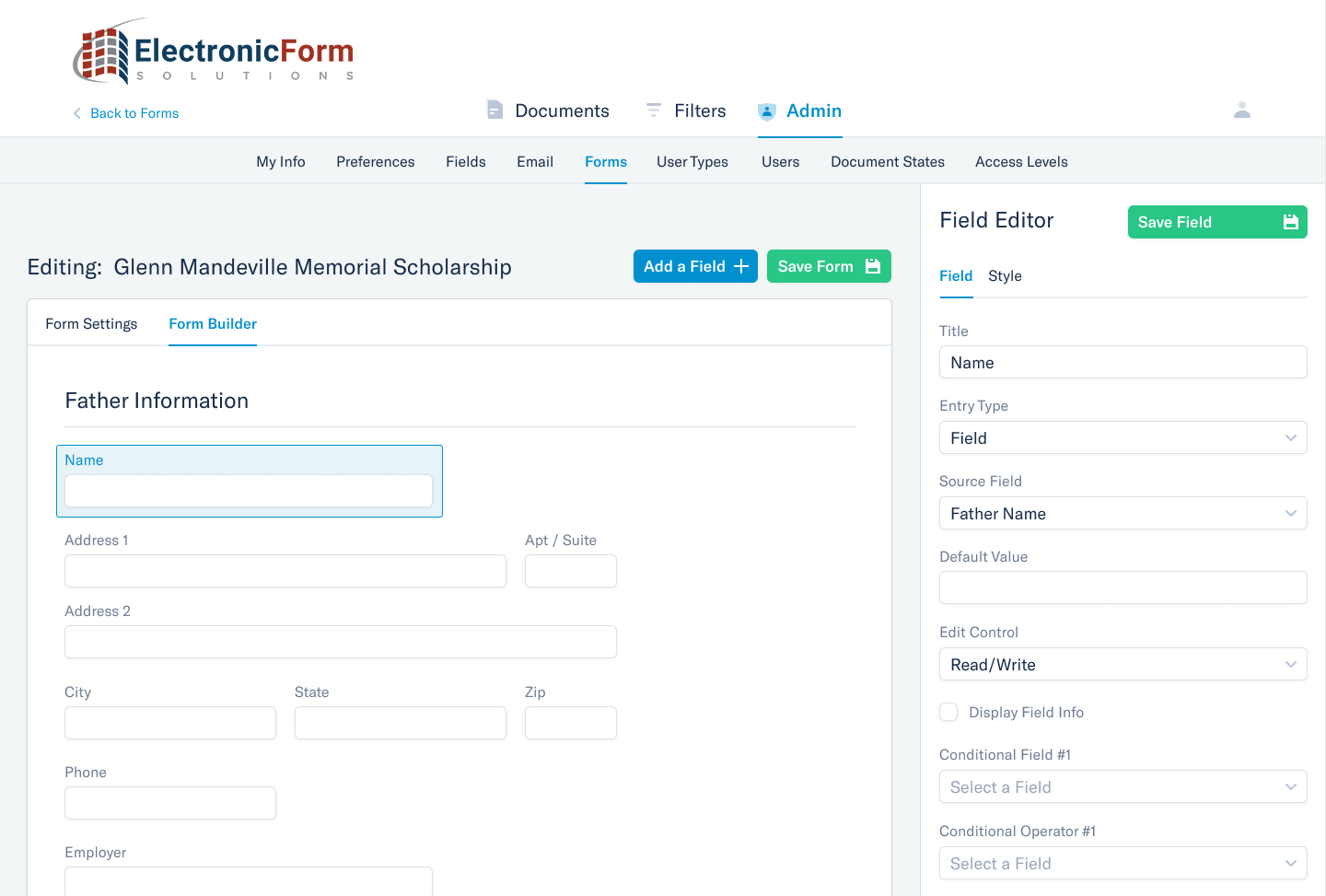 Electronic Form Solutions form builder