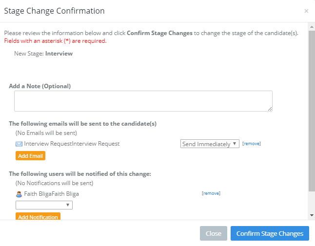 ApplicantStack Software - Stage Change Confirmation dialogue setup to automatically send an email to the candidate and notify internal staff of the stage change.