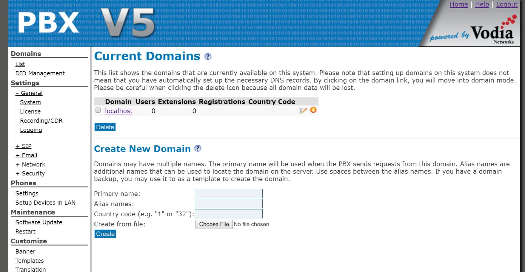 Vodia PBX Software - Current domains