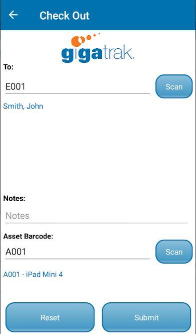GigaTrak's Asset Tracking System checkout