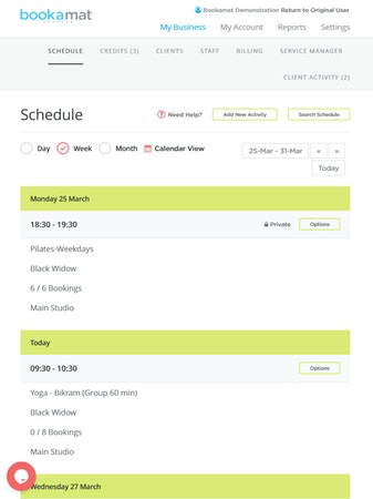 Bookamat manage schedules screenshot