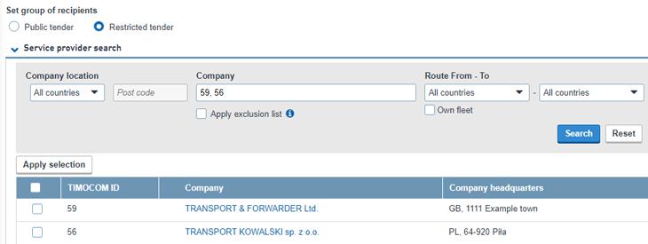 TIMOCOM Smart Logistics System service provider search