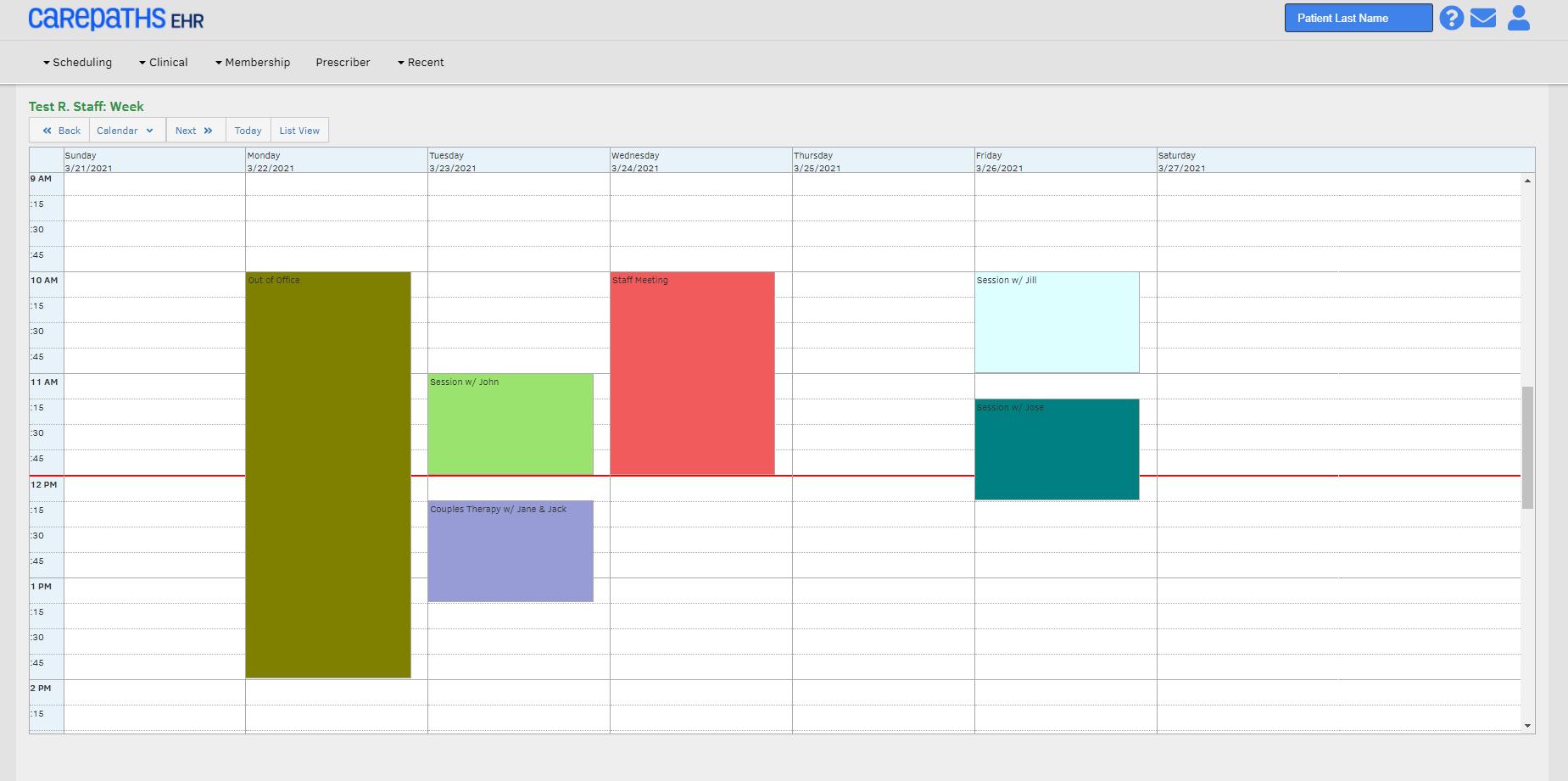 CarePaths EHR Software - Scheduling Portal