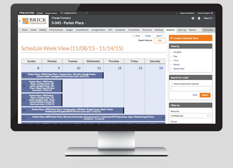 Procore Software - Procore schedule