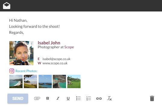 WiseStamp screenshot: WiseStamp allows users to compose and manage rich, customizable email signatures compatible with leading clients, apps and devices