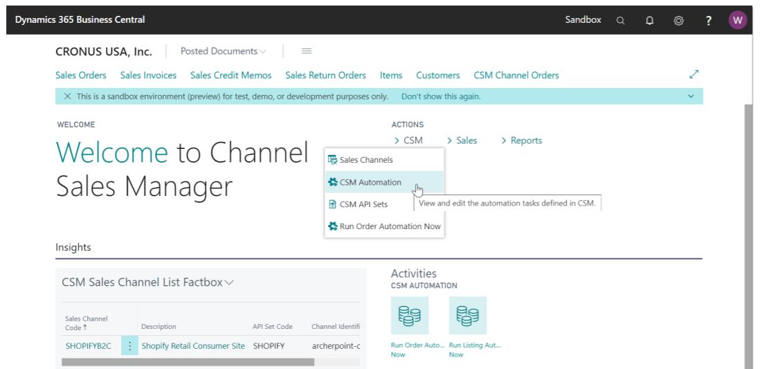 Suite Engine CSM screenshot: Channel Sales Manager automation list