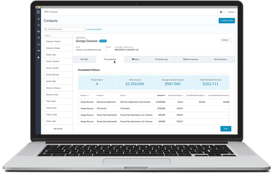 The in-built CRM allows users to manage their contact database and track activity