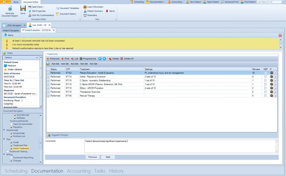 TheraOffice document editor screenshot