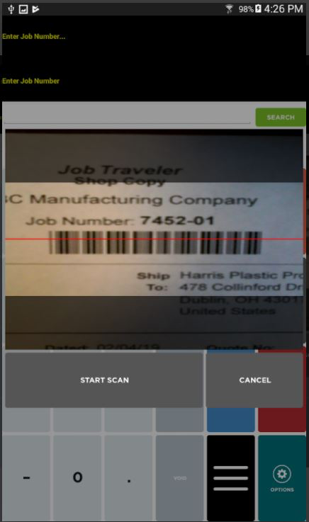 E2 Manufacturing System screenshot: E2 Manufacturing System data collection management